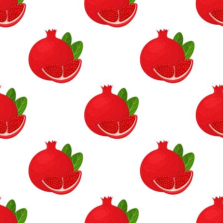 Seamless pattern with fresh bright exotic whole and chunk pomegranate with leaves on white background. Summer fruits for healthy lifestyle. Organic fruit. Vector illustration for any design.