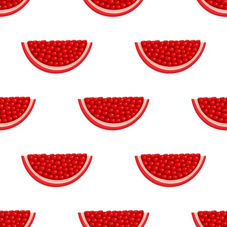 Seamless pattern with fresh bright exotic chunk pomegranate with leaves on white background. Summer fruits for healthy lifestyle. Organic fruit. Vector illustration for any design. 일러스트