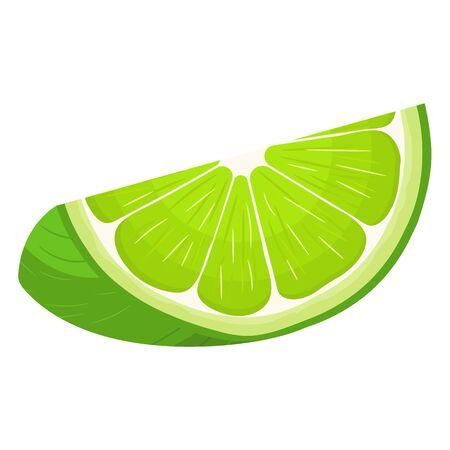 Fresco brillante exótico corte rebanada de limón aislado sobre fondo blanco. Frutas de verano para un estilo de vida saludable. Fruta ecológica. Estilo de dibujos animados. Ilustración de vector para cualquier diseño.
