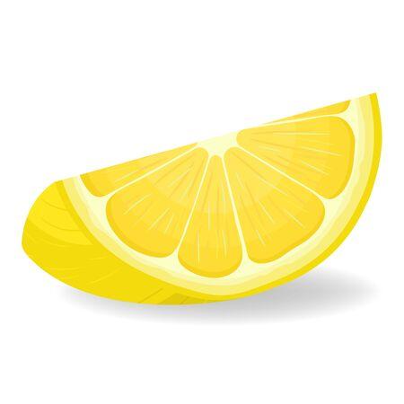 Fresh bright exotic cut slice lemon fruit isolated on white background. Summer fruits for healthy lifestyle. Organic fruit. Cartoon style. Vector illustration for any design. Vettoriali