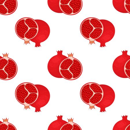 Seamless pattern with fresh bright exotic whole and half pomegranate with leaves on white background. Summer fruits for healthy lifestyle. Organic fruit. Vector illustration for any design. 일러스트