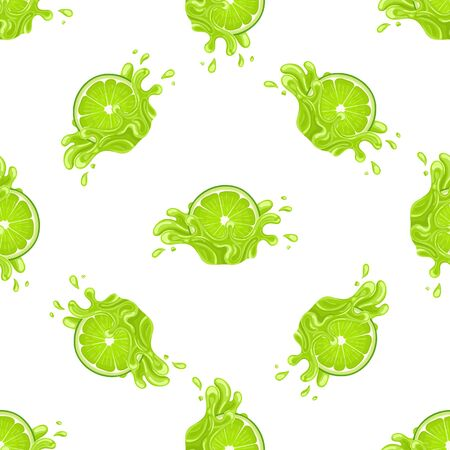 Seamless pattern with fresh bright lime juice splash burst isolated on white background. Summer fruit juice. Cartoon style. Vector illustration for any design.