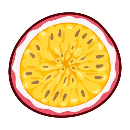 Fresh bright exotic half cut passion fruit isolated on white background. Summer fruits for healthy lifestyle. Organic fruit. Cartoon style. Vector illustration for any design.