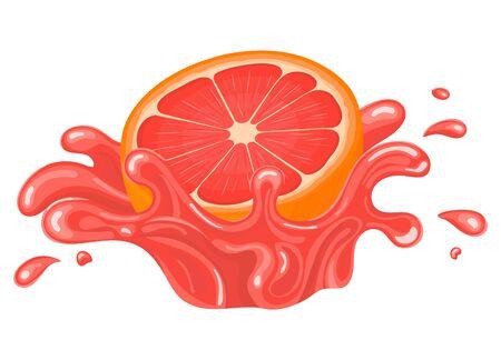 Fresh bright half cut grapefruit juice splash burst isolated on white background. Summer fruit juice. Cartoon style. Vector illustration for any design.