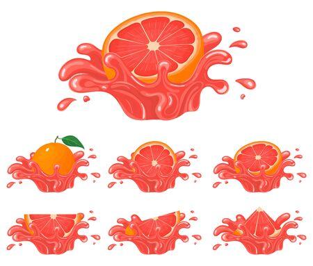 Set of fresh bright grapefruit juice splash burst isolated on white background. Summer fruit juice. Cartoon style. Vector illustration for any design.