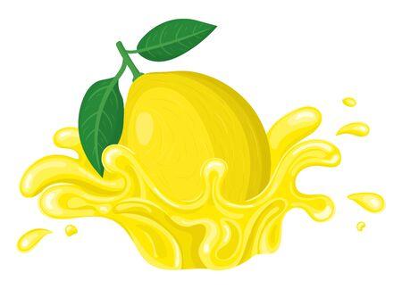 Fresh bright lemon juice splash burst isolated on white background. Summer fruit juice. Cartoon style. Vector illustration for any design.