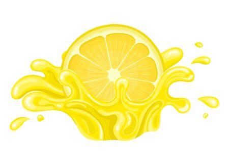 Fresh bright half cut lemon juice splash burst isolated on white background. Summer fruit juice. Cartoon style. Vector illustration for any design.
