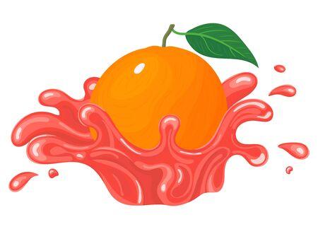 Fresh bright grapefruit juice splash burst isolated on white background. Summer fruit juice. Cartoon style. Vector illustration for any design. Illustration