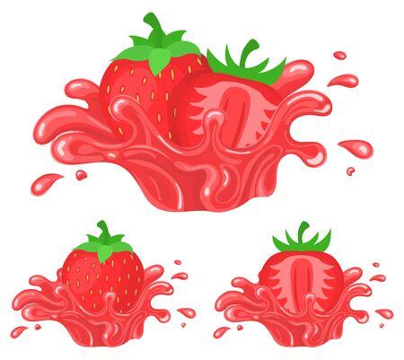 Set of fresh bright strawberry juice splash burst isolated on white background. Summer fruit juice. Cartoon style. Vector illustration for any design.