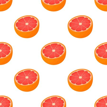 Seamless pattern with fresh bright exotic half cut grapefruit isolated on white background. Summer fruits for healthy lifestyle. Organic fruit. Cartoon style. Vector illustration for any design.