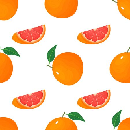 Seamless pattern with fresh bright exotic whole and cut slice grapefruit isolated on white background. Summer fruits for healthy lifestyle. Organic fruit. Vector illustration for any design.