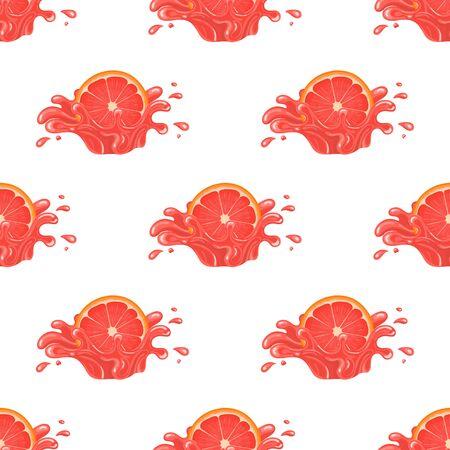 Seamless pattern with fresh bright grapefruit juice splash burst isolated on white background. Summer fruit juice. Cartoon style. Vector illustration for any design.