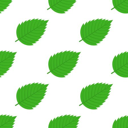 Seamless pattern with decorative green strawberry leaves on white background. Vector illustration for any design.