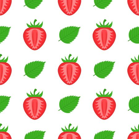 Seamless pattern with fresh bright exotic half strawberries and leaves on white background. Summer fruits for healthy lifestyle. Organic fruit. Cartoon style. Vector illustration for any design.
