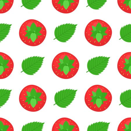 Seamless pattern with fresh bright exotic whole strawberries and leaves on white background. Summer fruits for healthy lifestyle. Organic fruit. Cartoon style. Vector illustration for any design.