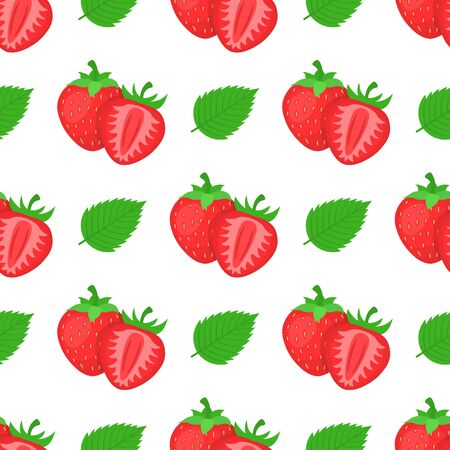 Seamless pattern with fresh bright exotic whole, half strawberries and leaves on white background. Summer fruits for healthy lifestyle. Organic fruit. Vector illustration for any design. Illustration