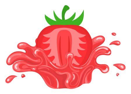 Fresh bright strawberry juice splash burst isolated on white background. Summer fruit juice. Cartoon style. Vector illustration for any design.