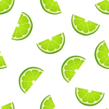 Seamless pattern with fresh bright exotic cut slice lime fruit on white background. Summer fruits for healthy lifestyle. Organic fruit. Cartoon style. Vector illustration for any design.