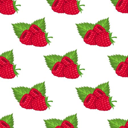 Seamless pattern with fresh bright exotic whole raspberries with leaves on white background. Summer fruits for healthy lifestyle. Organic fruit. Cartoon style. Vector illustration for any design. Illustration