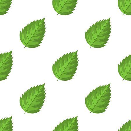 Seamless pattern with decorative green raspberry leaves on white background. Vector illustration for any design. Ilustração