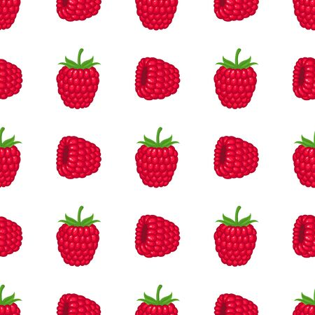 Seamless pattern with fresh bright exotic whole raspberry on white background. Summer fruits for healthy lifestyle. Organic fruit. Cartoon style. Vector illustration for any design.