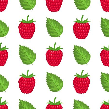 Fresh bright exotic whole raspberries with leaves isolated on white background. Summer fruits for healthy lifestyle. Organic fruit. Cartoon style. Vector illustration for any design.