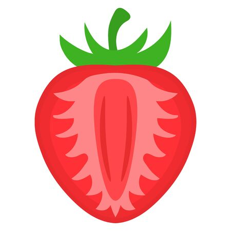 Fresh bright exotic half cut strawberry isolated on white background. Summer fruits for healthy lifestyle. Organic fruit. Cartoon style. Vector illustration for any design. Illustration