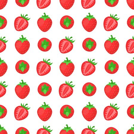 Seamless pattern with fresh bright exotic whole and half strawberries on white background. Summer fruits for healthy lifestyle. Organic fruit. Cartoon style. Vector illustration for any design.