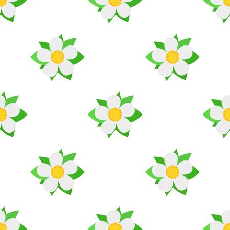 Seamless pattern with decorative strawberry flowers on white background. Vector illustration for any design. Illustration