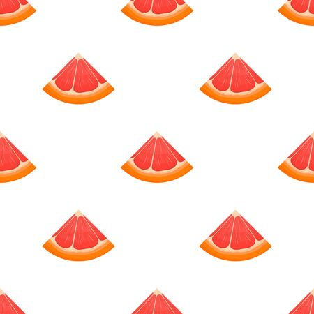 Seamless pattern with fresh bright exotic cut slice grapefruit isolated on white background. Summer fruits for healthy lifestyle. Organic fruit. Cartoon style. Vector illustration for any design. Illustration