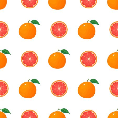 Seamless pattern with fresh bright exotic whole and half grapefruit isolated on white background. Summer fruits for healthy lifestyle. Organic fruit. Cartoon style. Vector illustration for any design.