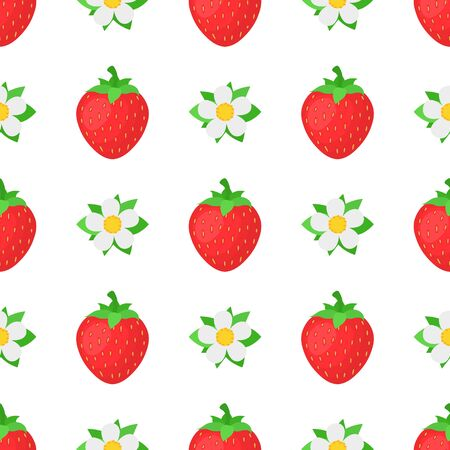 Seamless pattern with fresh bright exotic whole strawberries with flowers on white background. Summer fruits for healthy lifestyle. Organic fruit. Cartoon style. Vector illustration for any design.