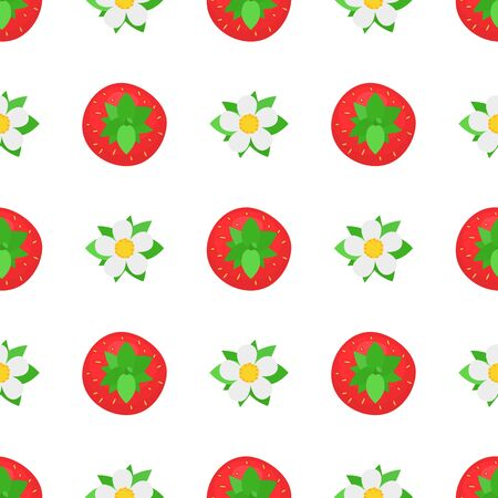 Seamless pattern with fresh bright exotic whole strawberries view from above on white background. Summer fruits for healthy lifestyle. Organic fruit. Cartoon style. Vector illustration for any design.