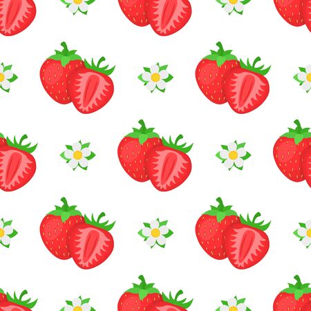 Seamless pattern with fresh bright exotic whole and half strawberries with flowers on white background. Summer fruits for healthy lifestyle. Organic fruit. Vector illustration for any design.