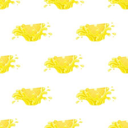 Seamless pattern with fresh bright lemon juice splash burst isolated on white background. Summer fruit juice. Cartoon style. Vector illustration for any design.