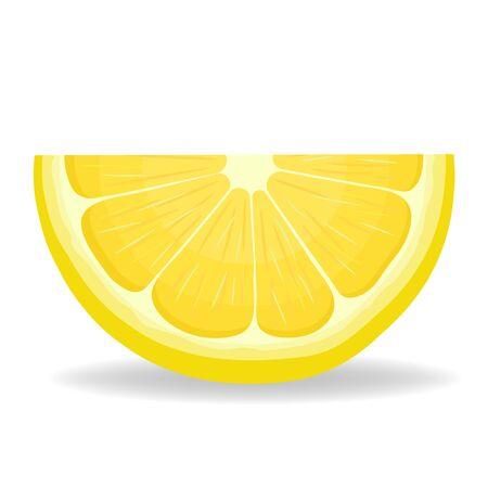 Fresh bright exotic cut slice lemon fruit isolated on white background. Summer fruits for healthy lifestyle. Organic fruit. Cartoon style. Vector illustration for any design.