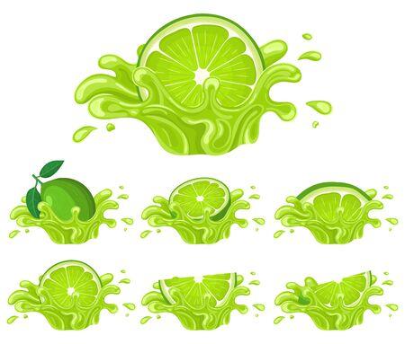 Set of fresh bright lime juice splash burst isolated on white background. Summer fruit juice. Cartoon style. Vector illustration for any design. Illustration
