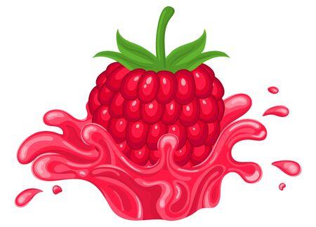Fresh bright raspberry juice splash burst isolated on white background. Summer fruit juice. Cartoon style. Vector illustration for any design.