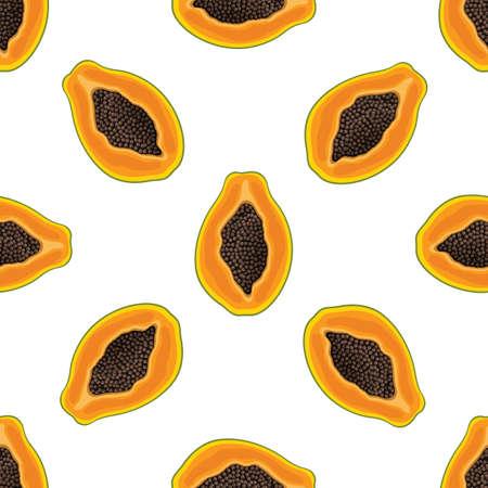 Seamless pattern with fresh bright exotic half papaya fruit on white background. Summer fruits for healthy lifestyle. Organic fruit. Cartoon style.