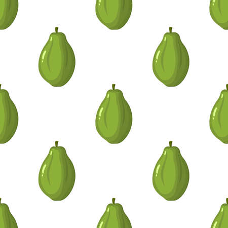 Seamless pattern with fresh bright exotic whole papaya fruit on white background. Summer fruits for healthy lifestyle. Organic fruit. Cartoon style. Illustration