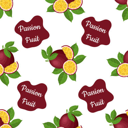 Seamless pattern with fresh bright exotic whole and cut slice passion fruit on white background. Summer fruits for healthy lifestyle. Organic fruit. Cartoon style.