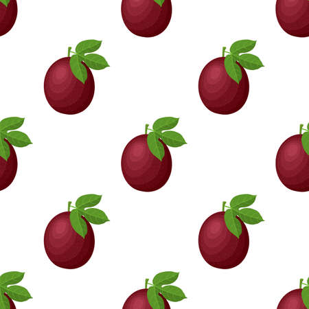 Seamless pattern with fresh bright exotic whole passion fruit on white background. Summer fruits for healthy lifestyle. Organic fruit. Cartoon style.