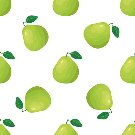 Seamless pattern with fresh bright exotic pomelo fruit on white background. Summer fruits for healthy lifestyle. Organic fruit. Cartoon style. Illustration