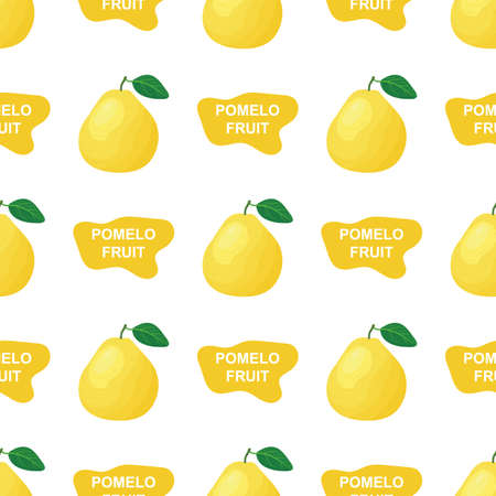 Seamless pattern with fresh bright exotic whole and cut slice pomelo fruit on white background. Summer fruits for healthy lifestyle. Organic fruit. Cartoon style. Vector illustration for any design. Illustration