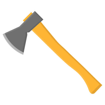 Wooden ax isolated in cartoon style on a white background. Gardening tool. Vector illustration for your design.