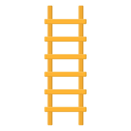 Cartoon wooden ladder icon isolated on white background. Vector illustration in cartoon style for your design.