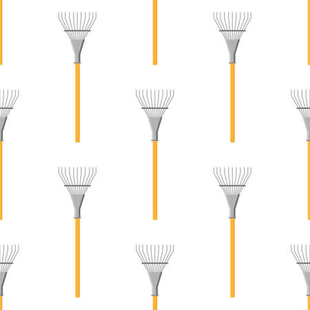 Seamless pattern with cartoon rakes on white background. Gardening tool. Vector illustration for any design.