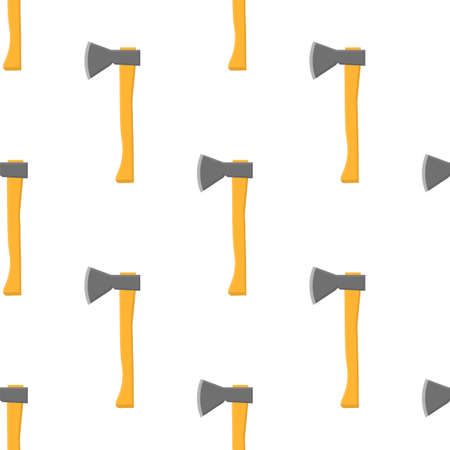 Seamless pattern with cartoon axes on white background. Gardening tool. Vector illustration for any design.