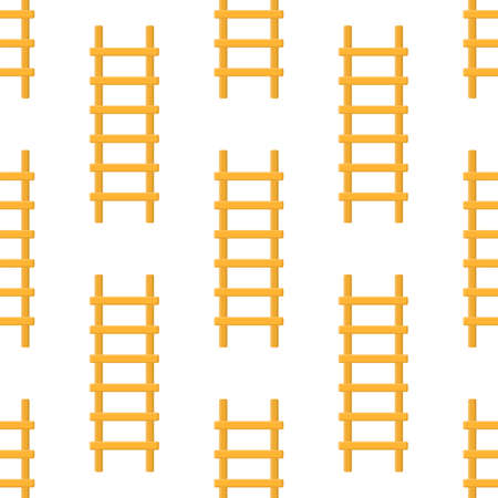Seamless pattern with cartoon ladder, stairs on white background. Gardening tool. Vector illustration for any design.