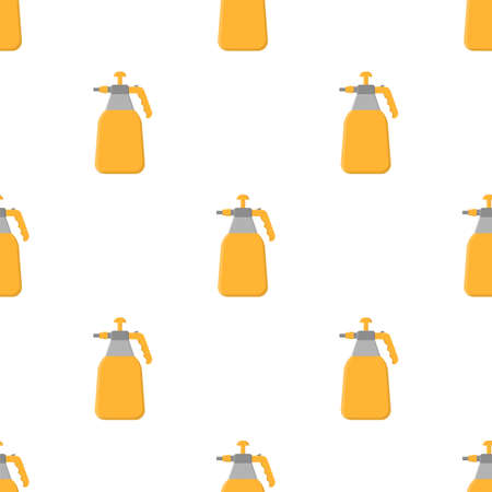 Seamless pattern with cartoon garden sprayer on white background. Gardening tool. Vector illustration for any design.